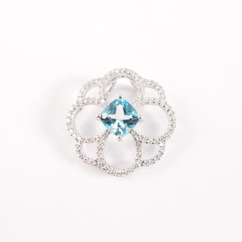 IRIS 18K White Gold Pendant with Swiss Blue Topaz and Diamond