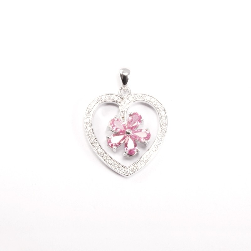 IRIS 18K White Gold Pendant with Pink Sapphire and Diamond