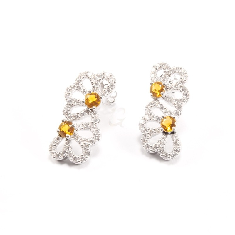 IRIS 18K White Gold Earring with Citrine and Diamond