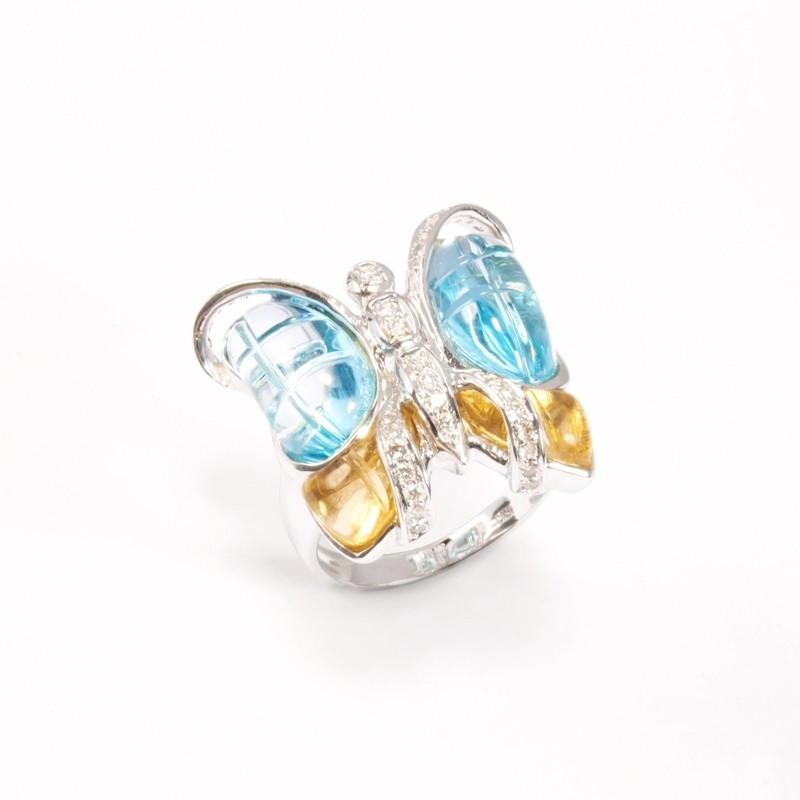 IRIS 18K White Gold Ring with Baby Blue Topaz, Citrine and Diamond