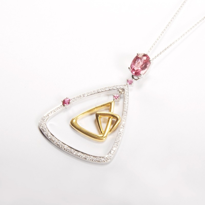 IRIS 18K White Gold 'Dynasty' Pendant with Pink Tourmaline and VVS Diamond