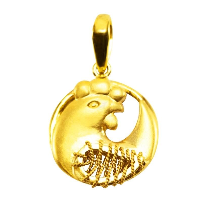 "Goldlery 24K Gold ""Zodiac"" Chicken Pendant"