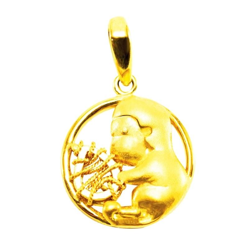 """Goldlery 24K Gold """"Zodiac"""" Monkey Pendant"""