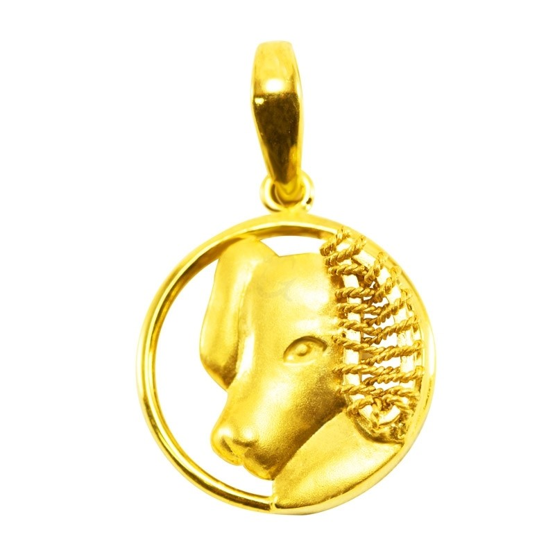 "Goldlery 24K Gold ""Zodiac"" Dog Pendant"
