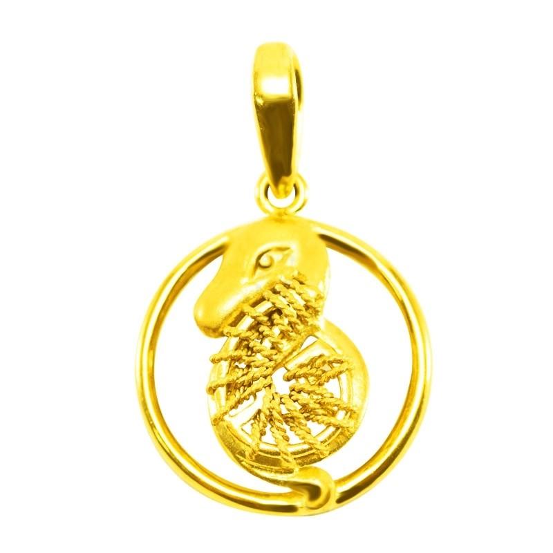 "Goldlery 24K Gold ""Zodiac"" Snake Pendant"